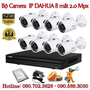 Trọn bộ 8 camera IP Dahua 2.0 MP