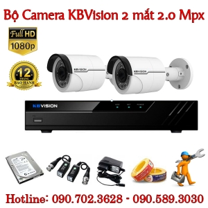 Trọn bộ 2 camera KBvision 2.0 MP
