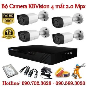 Trọn bộ 4 camera KBvision 2.0 MP