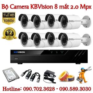 Trọn bộ 8 camera KBvision 2.0 MP
